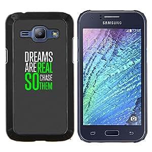 TECHCASE---Cubierta de la caja de protección para la piel dura ** Samsung Galaxy J1 J100 ** --Sueños Realidad Impresiones Caza Verde Gris