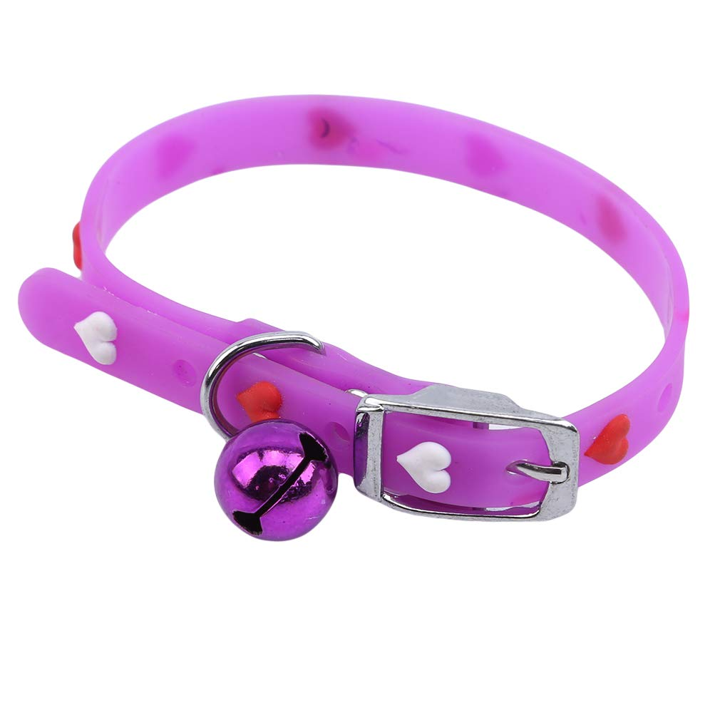 Iumer Love Hearts Cat Collar Silicone Adjustable Colorful Breakaway Bell Pet Dressup Charm Collar,Purple