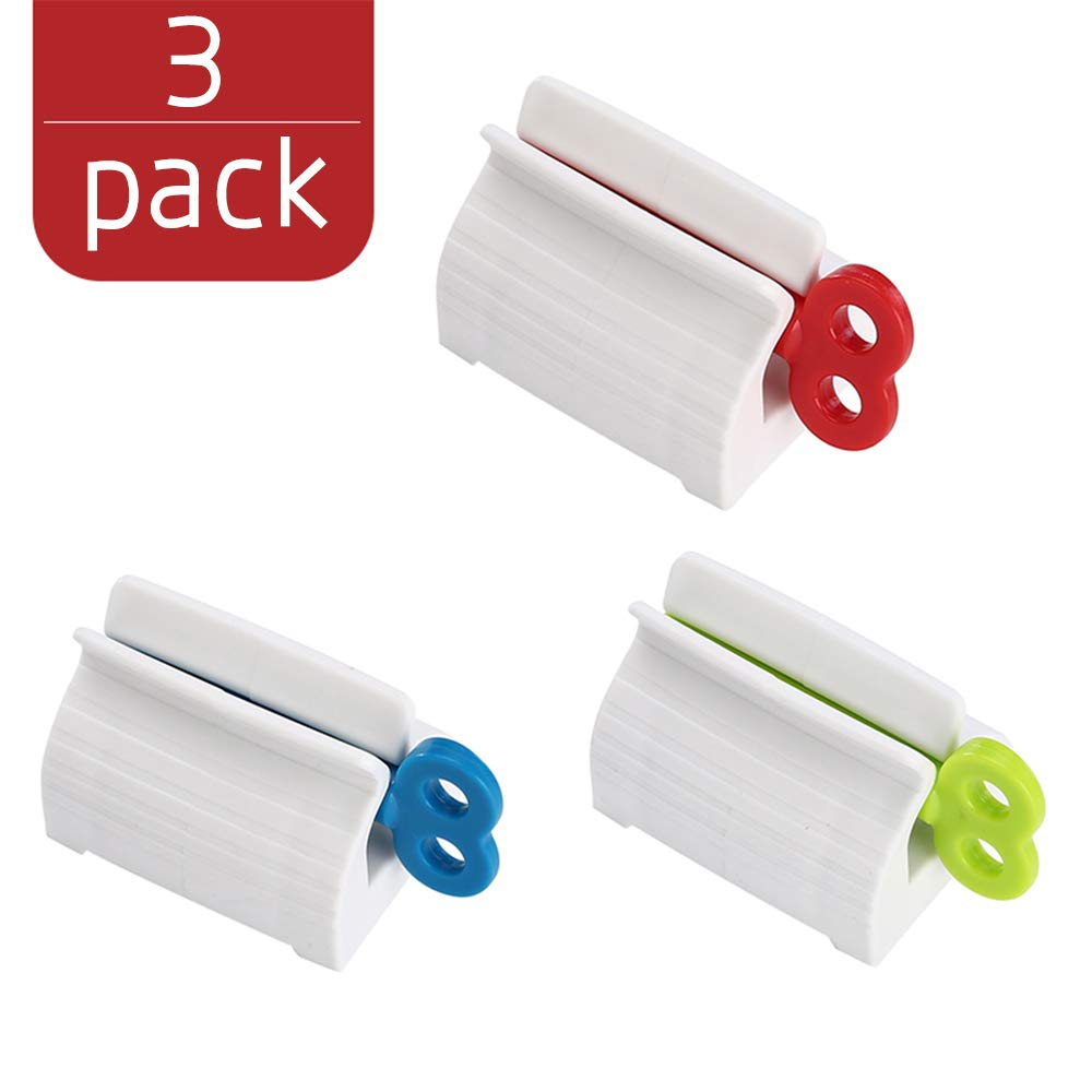 CHIMOO 3 Pieces Toothpaste Squeezer ,Rolling Tube Toothpaste Squeezer Toothpaste Seat Holder Stand Rotate Toothpaste Dispenser