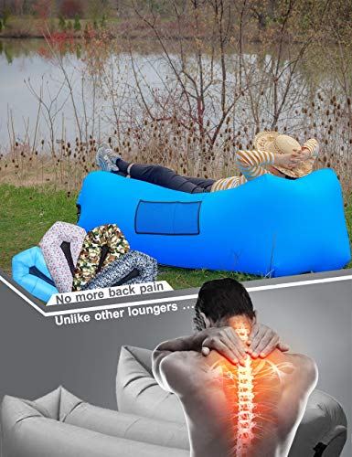Camper's Lair Ergonomic Inflatable Lounger: Headrest, Breathable Lumbar Support, Wider Size, Huge Pocket. A Portable Air Sofa/Couch, Durable Air Hammock for Travel, Camping, Beach & Picnics