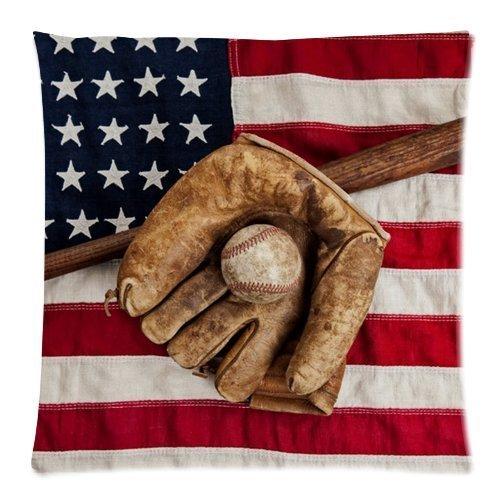 Honey Cushion Cover Baseball Decorative Pillow Case Protector 18x18 Inch