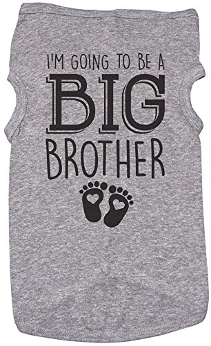 Big Brother Shirt for Dogs/I'M GOING TO BE A BIG BROTHER/Puppy Shirt (MEDIUM, GREY) by Baffle