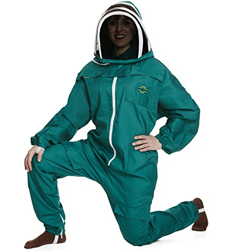 NATURAL APIARY® BEEKEEPING SUIT - GREEN - MEDIUM - Complete, Full (All-in-One) - Fencing Veil - Easy to Wear & Remove - Bee Proof Seals - Professional & Beginner Beekeepers