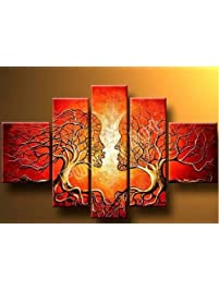 Wieco Art   The Lovers Tree 5 Piece Modern 100% Hand Painted Stretched And  Framed Part 70
