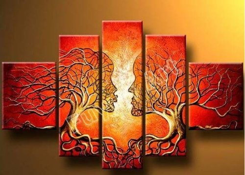 Wieco Art - The Lovers Tree 5 Piece Modern 100% Hand Painted Stretched and Framed Contemporary Abstract Red People Oil Paintings Artwork on Canvas Wall Art for Living Room Bedroom Home Decorations (Painting Oil People)