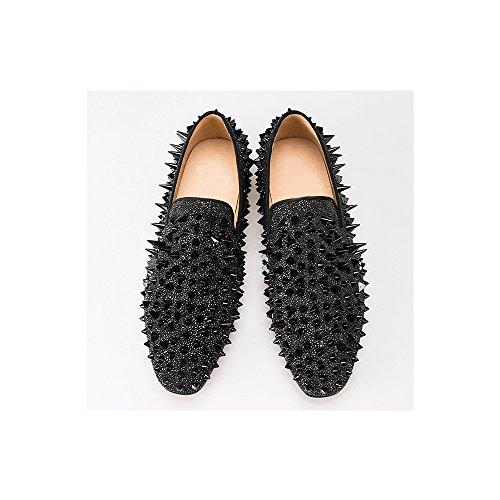 Mens Rivetti Moda Oro Scarpe Da Sera Moda Slip On Flats Size Us 4-14 Black