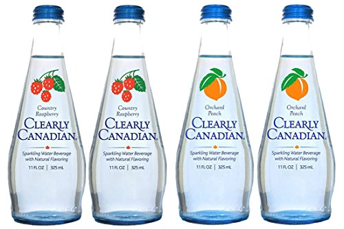 - Clearly Canadian Sparkling Water 4-pack sampler (2 Country Raspberry, 2 Orchard Peach)