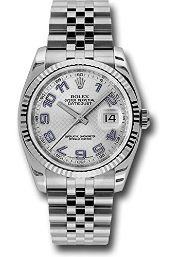 Rolex Oyster Perpetual Datejust 36mm Stainless Steel 18K White Gold Fluted Bezel, Silver Decorated Blue Arabic Numeral Dial With a Jubilee Bracelet.