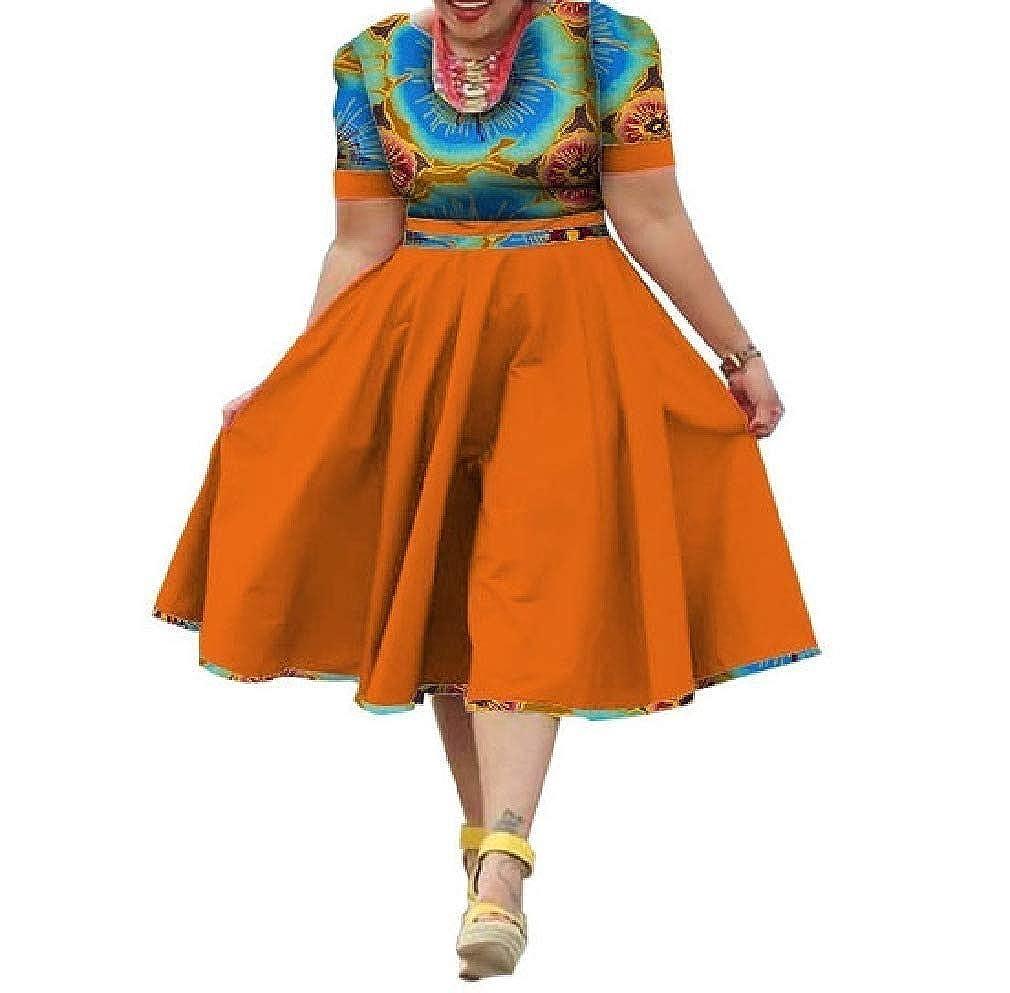 1 HEFASDM Women's PlusSize Midi Floral African Print Swing Mid Length Dresses