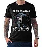 Keanu Reeves Be Kind to Animals T-Shirt, Men's Tee,Black,L