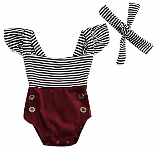 2Bunnies Newborn Toddler Baby Girl Striped Romper Bodysuit+Headband Sunsuit Outfit Set