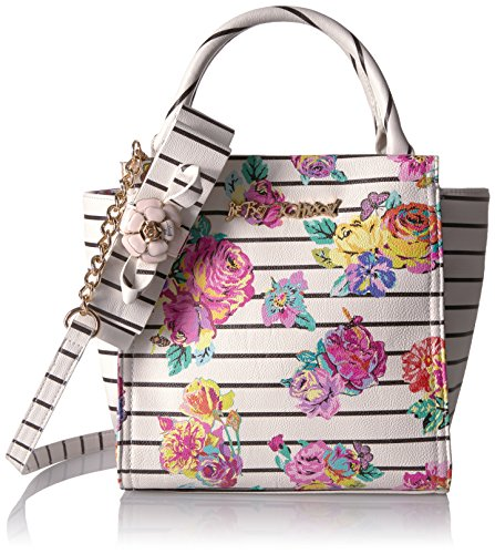 Betsey Johnson Petal to the Metal Tote, White Floral (Johnson Betsey Stripe)