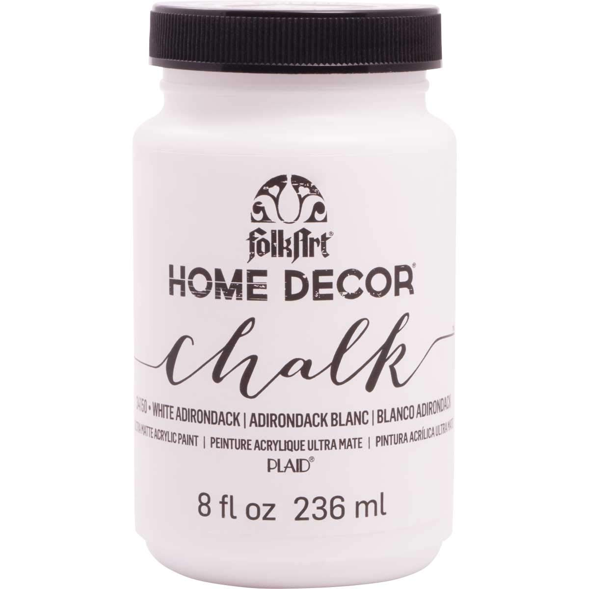 FolkArt 34150 Home Decor Chalk Furniture & Craft Paint in Assorted Colors, 8 ounce, White Adirondack