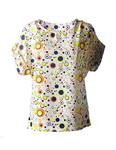 Chemise de manche courte col Femme imprim Multicolore Letuwj rond 6B5Cqpx
