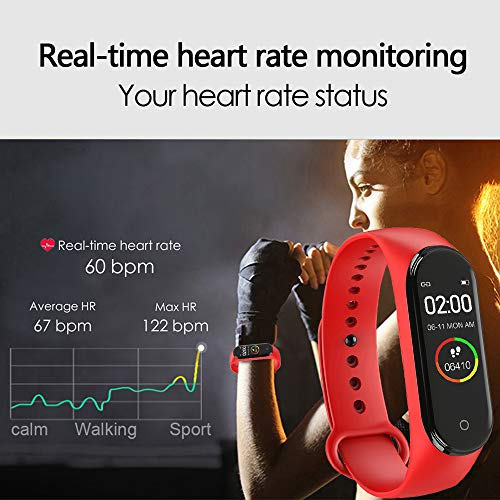 GULEHAY M4 Smart Band Fitness Tracker with IPS Color Screen, Waterproof Activity Watch with Heart Rate Monitor Blood Pressure Sleep Monitor Calorie Counter for Kid Women Man