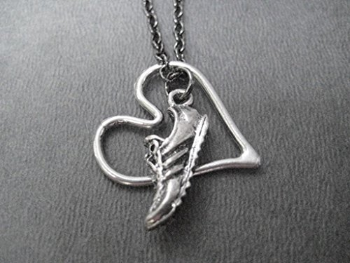 run-with-heart-necklace-on-18-inch-gunmetal-chain-pewter-running-shoe-and-pewter-open-floating-heart