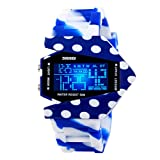 Men's or boys's camouflage aircraft military style wristwatch,Unique colorful led luminous american fighters waterproof electronic sports jelly vintage watch for kids or couples -G