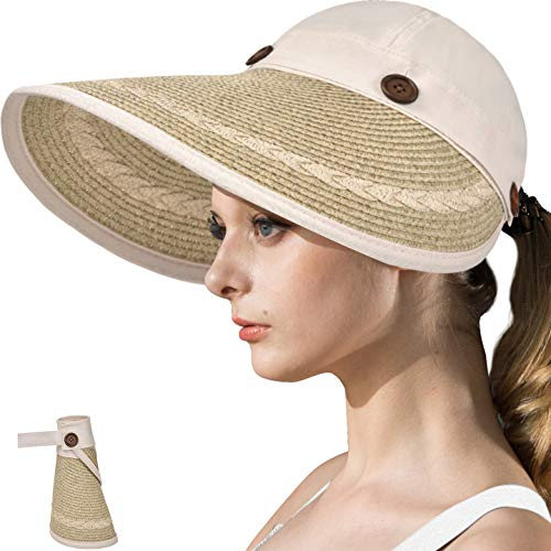 - LCZTN Womens UV Protection Hats Sun Visor for Girls Foldable Large Brim UPF Beach Ponytail Cap for Hiking Travel Fishing & Golf (Beige)