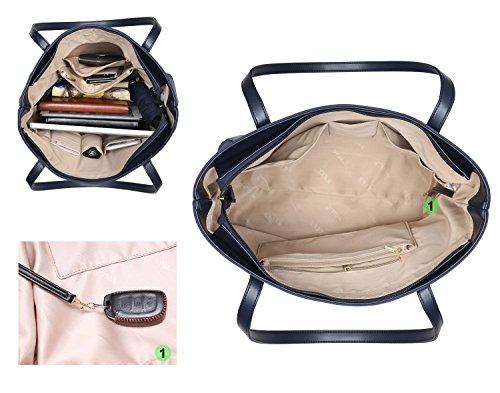 NNEE Large Water Resistance Nylon Travel Tote Shoulder Bag - Navy by NNEE Inc (Image #3)