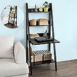 SoBuy Modern ladder bookcase made of wood, book shelf,stand shelf, wall shelf (FRG115-SCH)