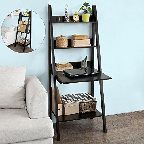 Haotian Modern Ladder Bookcase Made of Wood, Book Shelf,Stand Shelf, Wall Shelf (FRG115-SCH) Black Leaning Shelf Desk