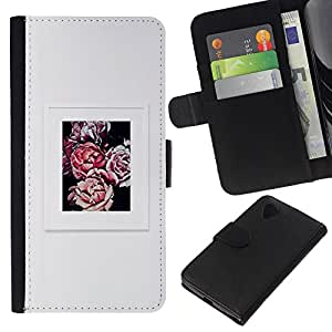 KLONGSHOP // Tirón de la caja Cartera de cuero con ranuras para tarjetas - begonia gris cartel gris de flores de primavera - LG Nexus 5 D820 D821 //