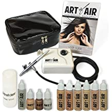 Art of Air Professional Airbrush Cosmetic Makeup System / Fair to Medium Shades 6pc Foundation Set with Blush, Bronzer, Shimmer and Primer Makeup Airbrush Kit
