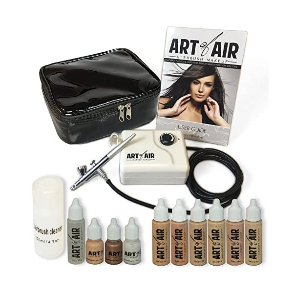 Art-of-Air-Professional-Airbrush-Cosmetic-Makeup-SystemFair-to-Medium-Shades-6pc-Foundation-Set-with-Blush-Bronzer-Shimmer-and-Primer-Makeup-Airbrush-Kit