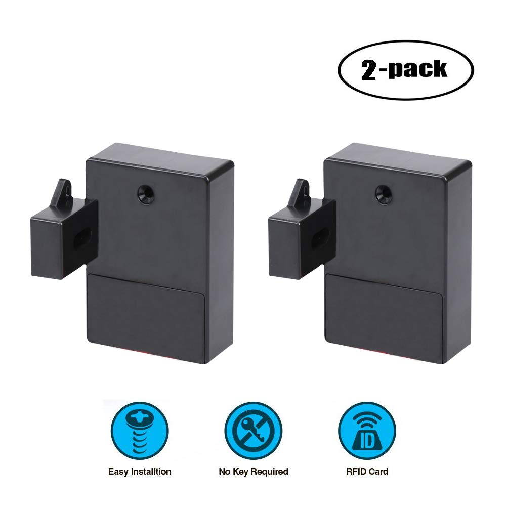 WOOCH RFID Lock,Electronic Cabinet Lock for Wooden Hidden Cabinet Drawer, RFID Card/Tag Entry(2 Pack)