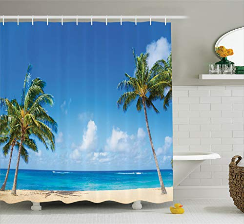 - Ambesonne Hawaiian Decorations Collection, Windy Exotic Island with Tropical Trees Calm Beachy Theme Ocean Photography Print, Polyester Fabric Bathroom Shower Curtain, 84 Inches Extra Long, Gray Green