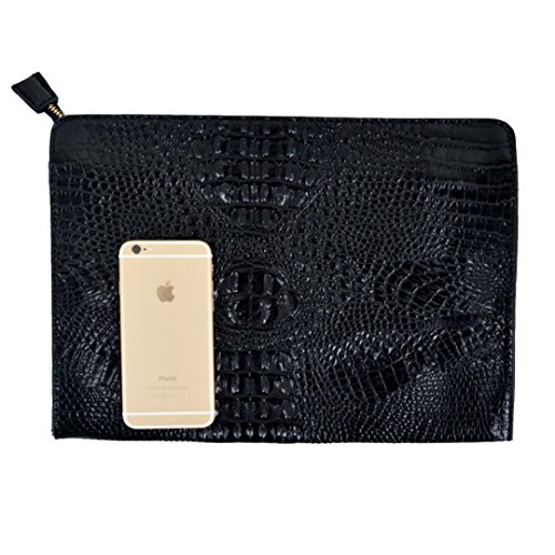 Felice Fashionista Crocodile Pattern Oversize Leather Envelope Clutch Ladies Portfolio Evening Handbag (Oversized Clutch Purse)