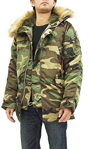 Alpha Industries N-3B Parka 20094 Men's Flight Jacket Camouflage (X-Large)