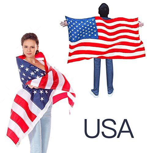 USA American Flag Cape Cloak Costume, Wearable Flag with Sleeves Classic Flag, 2 Differents Wearing Methods by (Wearing A Costume To School)