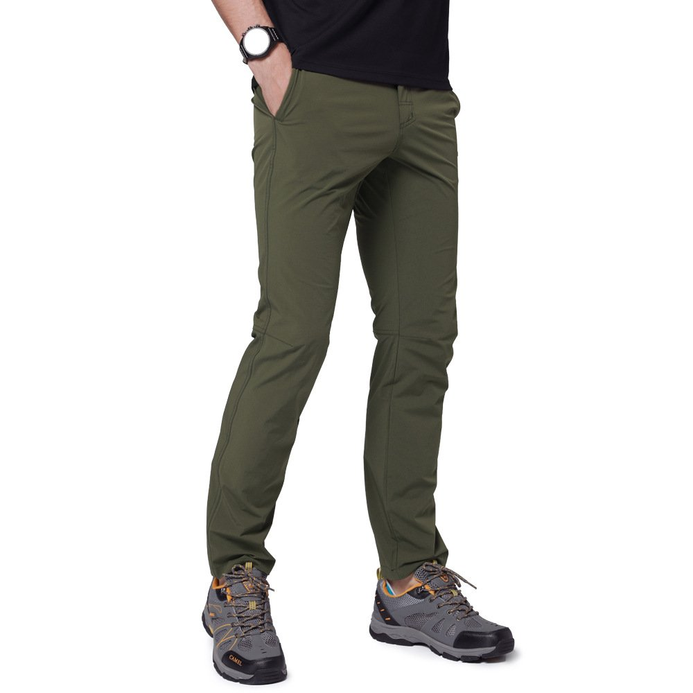 Camel Men's Spring and Summer Lightweight Breathable Casual Hiking Pants Outdoor Sports Quick Dry Trousers with Belt