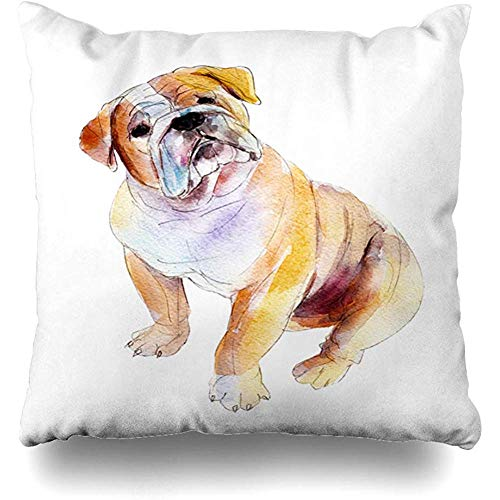 Bulldog Toss Pillow - Decorative Throw Pillow Cover Bright Dog English Bulldog White Drawing Watercolor Breed Brush Canine Graphic Home Decor Pillowcase Square 18