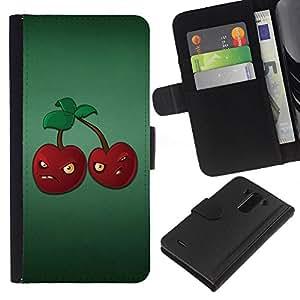 KLONGSHOP // Tirón de la caja Cartera de cuero con ranuras para tarjetas - Angry Grumpy cerezas rojas bayas Alimentación Saludable - LG G3 //