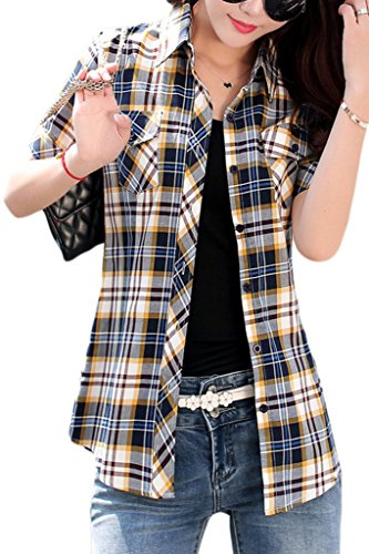 Lasher Women's Cotton V Neck Short Sleeve Plaid Shirt Button-up Shirts Blue Yellow US L = Asian Tag XXXL