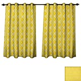 moroccan themed bedroom PriceTextile Yellow Blackout Curtains Panels for Bedroom Quatrefoil Moroccan Themed Ancient Geometric Ombre Pattern Artwork Decorative Curtains for Living Room Yellow Merigold and White Size W72 xL84