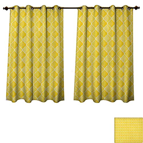PriceTextile Yellow Blackout Curtains Panels for Bedroom Quatrefoil Moroccan Themed Ancient Geometric Ombre Pattern Artwork Decorative Curtains for Living Room Yellow Merigold and White Size W72 xL84