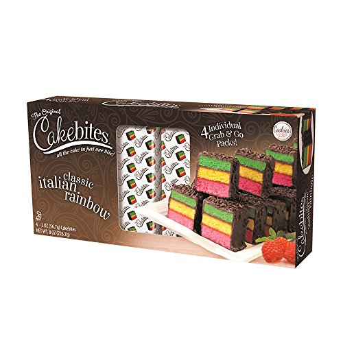 (The Original Cakebites Classic Italian Rainbow Cake - Family Pack 4 - 2oz Cakebites )
