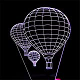RGANT 3D Led Desk Lamp,Optical Illusion 7 Colors Touch Button/Remote Control Table Desk Visual Night Light Lamps Gifts Toys for Children Kids-Hot Air Balloon