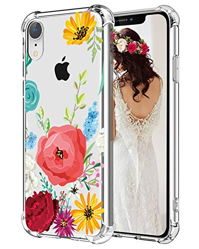 Flowers iPhone XR Case Hepix Floral Clear Phone Caes for Girls Women Slim Soft Flexiable Protective Cover Cases with Reinforced Corner Bumpers TPU Anti-Scratch Case for Apple iPhone XR (2018) 6.1