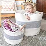 """HAN-MM XXXL Cotton Rope Basket Extra Large Storage Baskets, 2PCS Laundry Baskets, Blanket Woven Basket(Large Size 21.7""""X16"""" Small Size 12""""x8"""") - Carry Handles for Towel,Toys Grey and Off-White"""