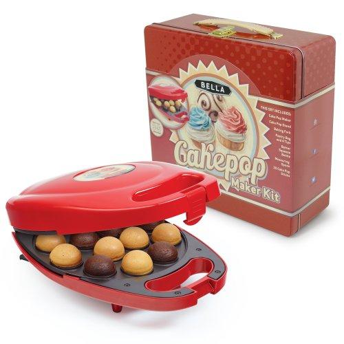 BELLA 13824 Cake Pop Maker Tin Box Set, Red