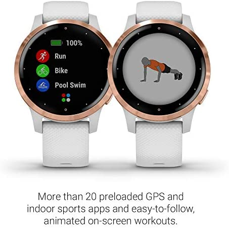 Garmin vivoactive 4S, Smaller-Sized GPS Smartwatch, Features Music, Body Energy Monitoring, Animated Workouts, Pulse Ox Sensors, Rose Gold with White Band