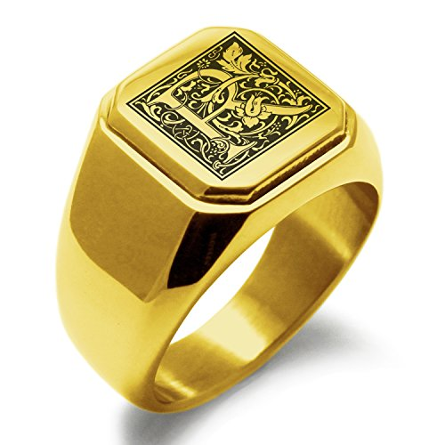 - Gold Plated Stainless Steel Letter R Alphabet Initial Floral Box Monogram Square Flat Top Biker Style Polished Ring, Size 11