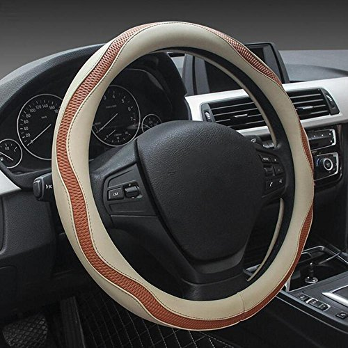 HUANZI QLL Car Steering Wheel Set of Fashion Stereo Three-Dimensional Hit Color Stitching Imitation Leather, beige, 38CM