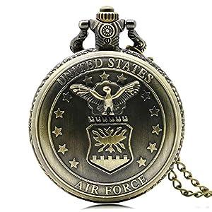 Engraved Pocket Watch, Bronze US Air Force Eagle Stars Quartz Watch Quartz Movement Chain Watch for Men Army Watch Christmas Gift