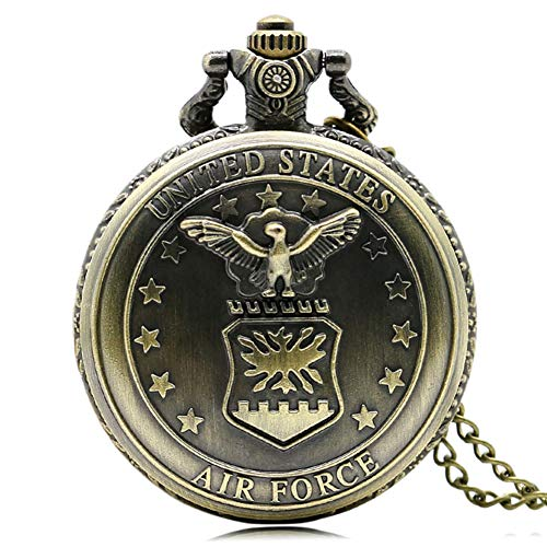 Mens Bronze Pocket Watch, Quartz Air Force Eagle Stars Design Chain Pocket Watch for Man, Best Gift for Male