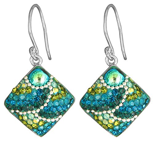 Green Dichroic Glass Earrings (Mosaico Sterling Silver Dichroic Glass and Preciosa Czech Crystals Square Dangle Earrings … (Green and Teal))